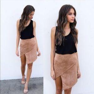 Vici asymmetrical suede skirt